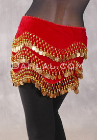 Turkish Velvet Wave Coin Hip Scarf - Red and Gold