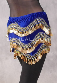 Egyptian Velvet Wave Coin Hip Scarf - Royal Blue and Gold