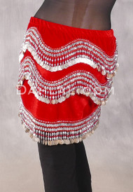 Egyptian Velvet Wave Coin Hip Scarf - Red and Silver