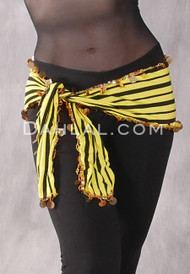 Striped Egyptian Hip Sash - Black, Yellow and Gold