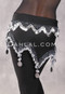 Black and Silver Metallic Pearl and Coin Egyptian Hip Scarf