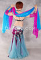 Back View Shown with Turquoise and Fuchsia Gradient Silk Veil