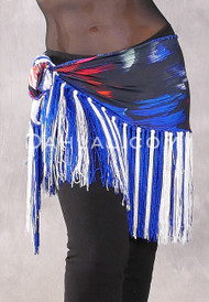 Lycra Fringe Hip Scarf with Multi-Color Print