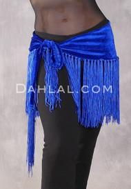 Velvet Fringe Hip Scarf in Royal Blue