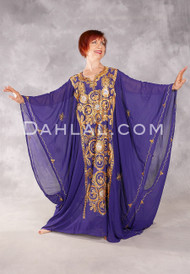 Khaleegi Dress or Saudi Thobe - Purple and Gold