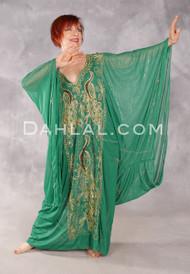 Khaleegi Dress or Saudi Thobe - Green, Gold and Copper
