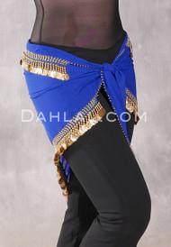 Egyptian Single-Row Teardrop Coin Hip Scarf - Royal Blue and Gold