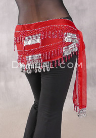 Egyptian Beaded Loop and Coin Fringe Hip Scarf - Red and Silver