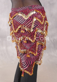 Multi-Row Chevron Bead and Coin Hip Shawl - Animal Print with Gold