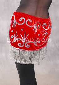 Egyptian Velvet Fringe Benefits Hip Scarf, Style 2 - Red and Silver