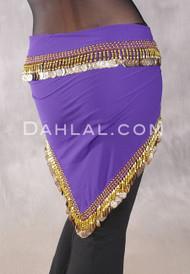 Egyptian Single-Row Teardrop Coin Hip Scarf - Royal Purple and Gold