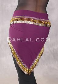 Egyptian Single-Row Teardrop Coin Hip Scarf - Purple and Gold