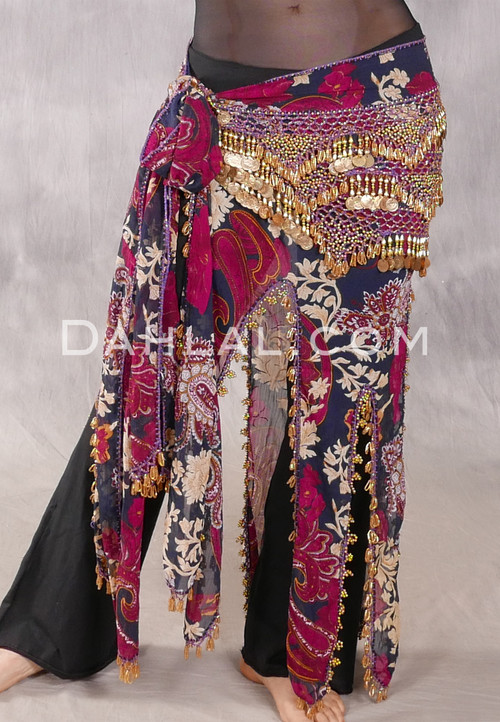 Floral and paisley long hip scarf