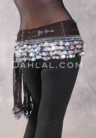 Assuit Beaded Coin and Paillette Egyptian Hip Scarf - Black and Silver