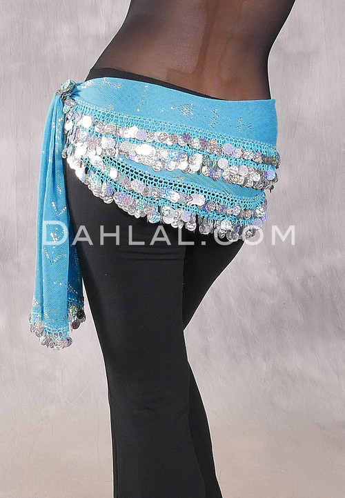 Assuit Beaded Coin and Paillette Egyptian Hip Scarf - Turquoise and Silver