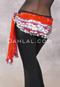Assuit Beaded Coin and Paillette Egyptian Hip Scarf - Red and Silver