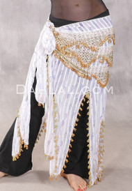 long white hip scarf with gold beading