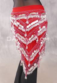 Multi-Row Chevron Bead and Coin Hip Shawl - Red with Silver