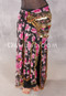 Egyptian Long Ruffle Skirt in black and fuchsia floral