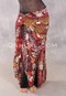 Egyptian Long Ruffle Skirt Hip Scarf in chocolate and red floral print
