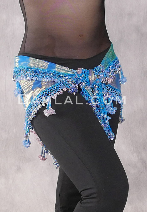 Dynasty VII Wide Row Crocheted Scarf in Turquoise