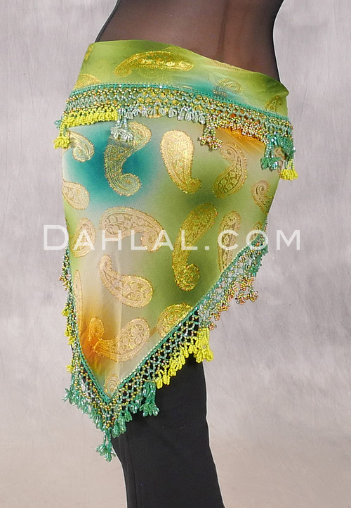 DYNASTY VII Wide Row Crocheted Scarf in Green