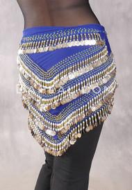 Multi-Row Chevron Teardrop Coin Hip Scarf - Royal Blue, Gold and Silver