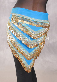 Multi-Row Chevron Teardrop Coin Hip Scarf - Turquoise and Gold