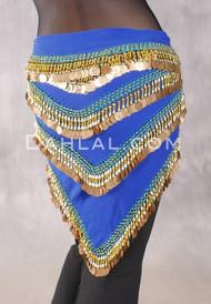 Multi-Row Chevron Teardrop Coin Hip Scarf - Royal Blue and Gold