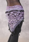 Egyptian Wide Row Crocheted Hip Scarf - Lavender and Black Animal Print