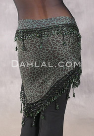Egyptian Wide Row Crocheted Hip Scarf - Dusty Teal Animal Print with Black and Green
