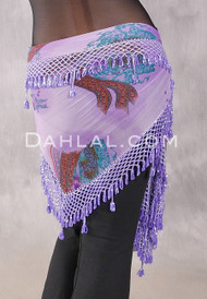 Egyptian Wide Row Crocheted Hip Scarf - Floral with Orchid
