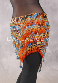 """Deep """"V"""" Beaded Loop Egyptian Hip Scarf - Graphic Print with Turquoise, Orange and Gold"""