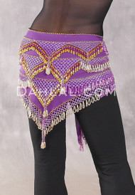 Egyptian Deep V Beaded Hip Wrap and Teardrop Beads - Orchid with Lavender and Gold