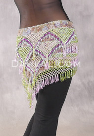 Egyptian Deep V Beaded Hip Wrap and Teardrop Beads - Floral with Silver, Lime Iris, Fuchsia and Orchid
