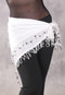 White Fringe Hip Wrap with Metal Accents front view