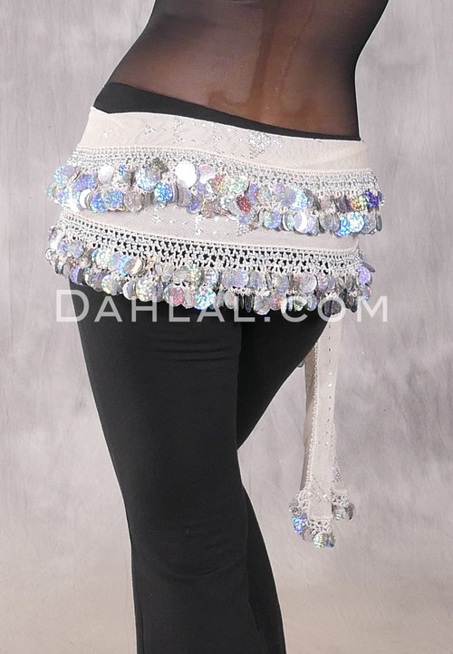Assuit Beaded Coin and Paillette Egyptian Hip Scarf Ivory and Silver
