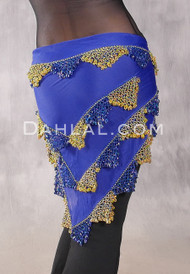 Egyptian Beaded Shawl Hip Scarf- Royal Blue