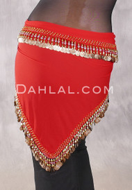 Egyptian Single-Row Teardrop Coin Hip Scarf - Red and Gold
