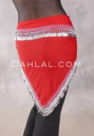 Egyptian Single-Row Teardrop Coin Hip Scarf - Red and Silver