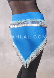 Egyptian Single-Row Teardrop Coin Hip Scarf - Turquoise and Silver