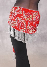 Lycra Fringe Benefits Hip Scarf, Style 3 - Red, Gold and Silver