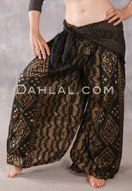 Faux Assuit Harem Pants II - Black and Gold