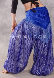 Faux Assuit Harem Pants II - Royal Blue and Silver