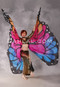 Silk Screen Printed Butterfly Wings of Isis - Gold, Red, Fuchsia and Blue