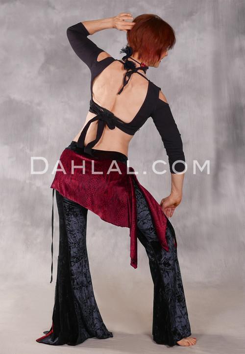 In The Wild Cairo Velvet Pant with Hip Wrap - Crimson Cobra