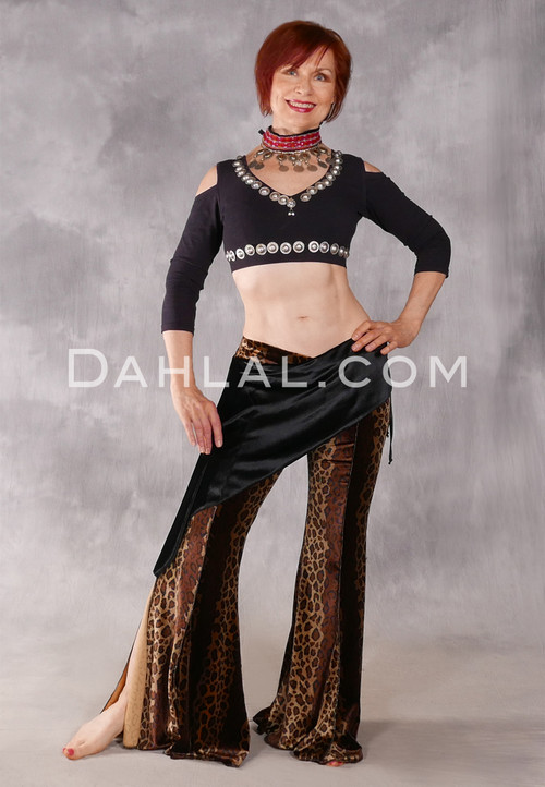 In The Wild Cairo Velvet Pant with Hip Wrap - Leopardess