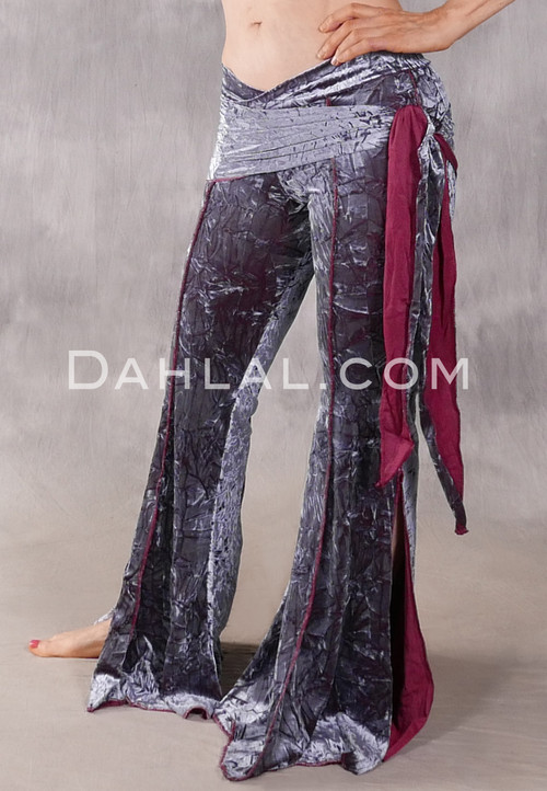 Makara Pant with Attached Hip Wrap - Gray and Wine