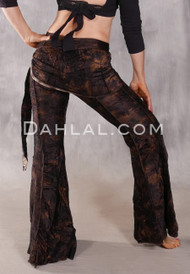 Makara Pant with Attached Hip Wrap - Brown and Tan Animal Print