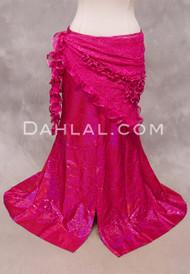 SELKET Lace and Ribbon Shawl - Hot Pink